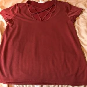 mauve red cross front shirt